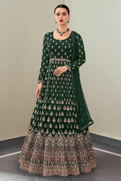 Bottle Green Georgette Anarkali Suit With Dupatta