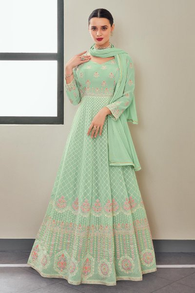 Mint Green Georgette Anarkali Suit With Dupatta