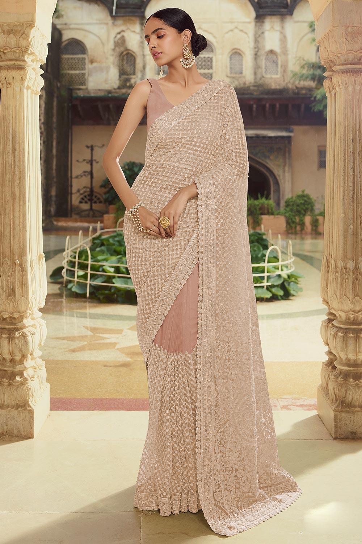 Pastel Brown Soft Net thread Embroidered Saree