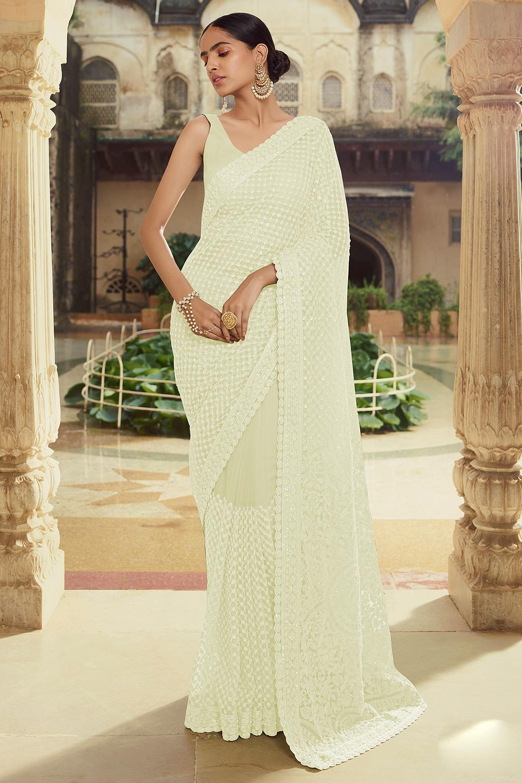 Off White Soft Net thread Embroidered Saree
