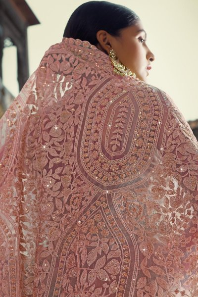 Soft Purple Net thread Embroidered Saree