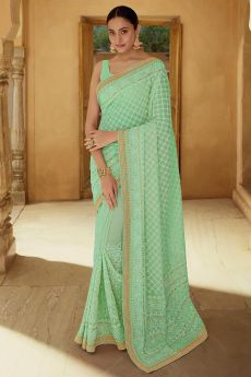Pear Green Georgette thread Embroidered Saree