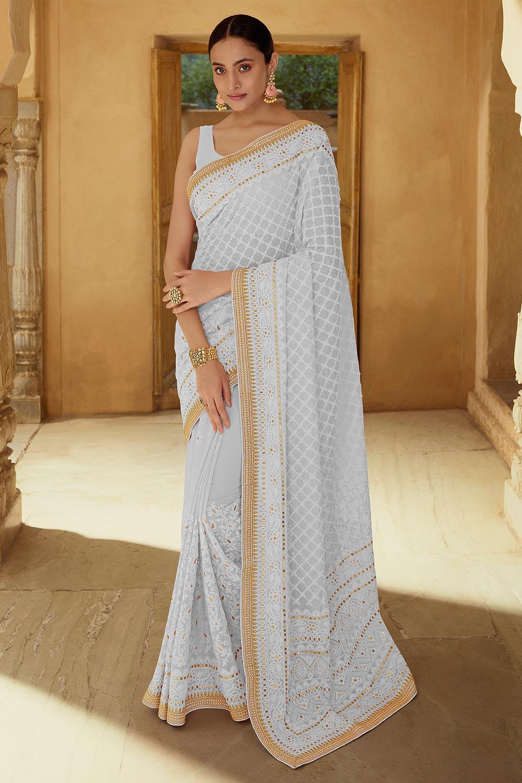 Light Grey Georgette thread Embroidered Saree