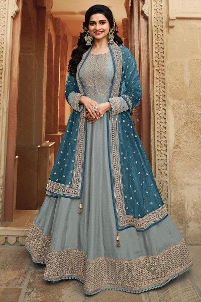 Steel Blue Zari Embroidered Anarkali Suit in Silk