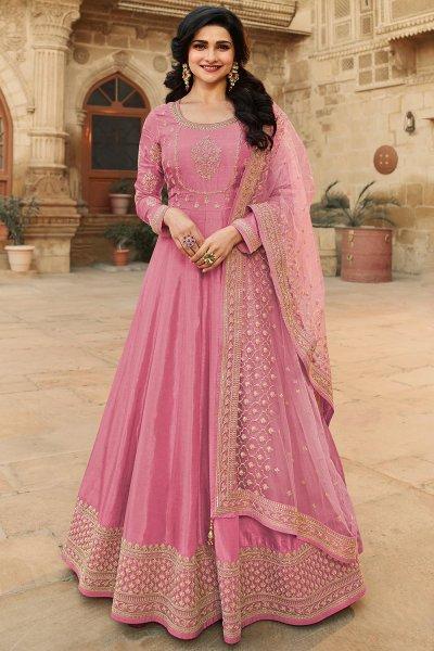 Pink Zari Embroidered Anarkali Suit in Silk