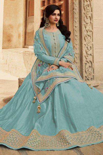 Pastel Blue Zari Embroidered Anarkali Suit in Silk