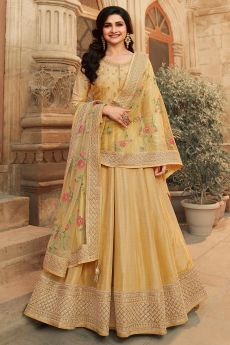 Pale Yellow Zari Embroidered Anarkali Suit in Silk