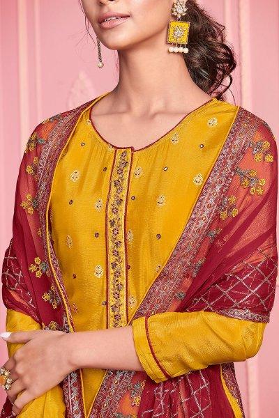 Yellow Georgette Embroidered Kurta Set