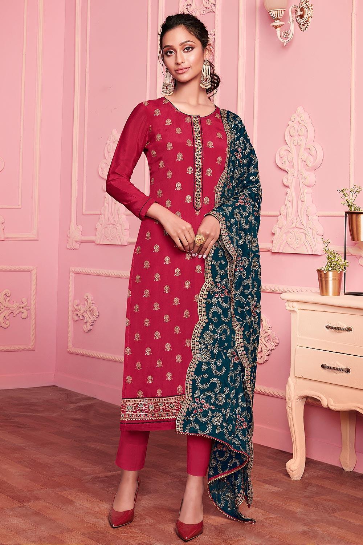 Pink Georgette Embroidered Kurta Set