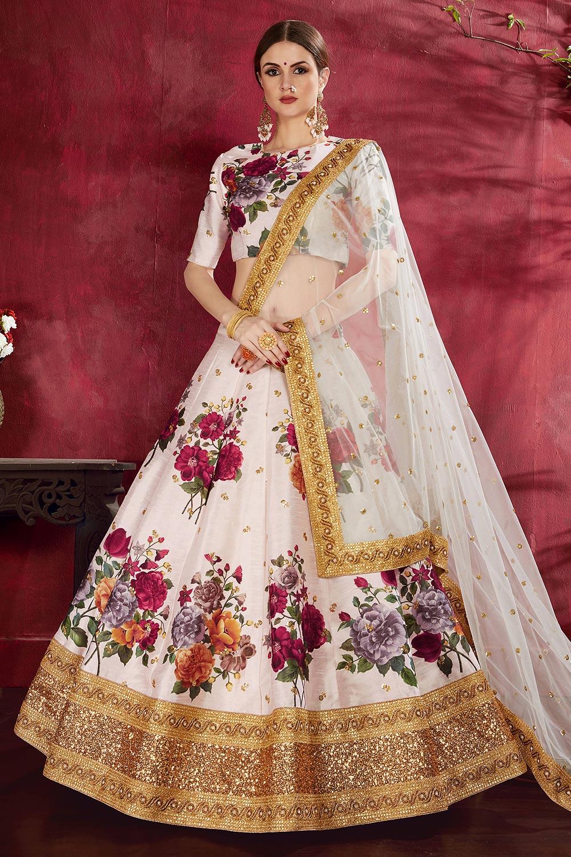 White Floral Printed Silk Sequin And Zari Work Lehenga