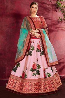 Light Pink Floral Printed Silk Sequin And Zari Work Lehenga