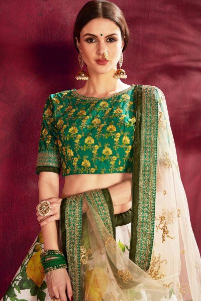 White And Dark Green Floral Printed Silk Sequin And Zari Work Lehenga