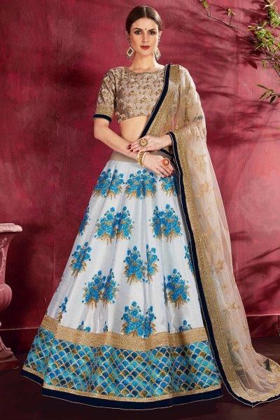 White And Blue Floral Printed Silk Sequin And Zari Work Lehenga