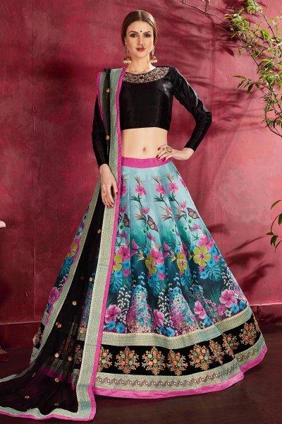 Black And Blue Floral Printed Silk Sequin And Zari Work Lehenga