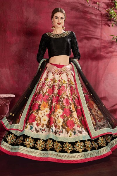 Black And Red Floral Printed Silk Sequin And Zari Work Lehenga