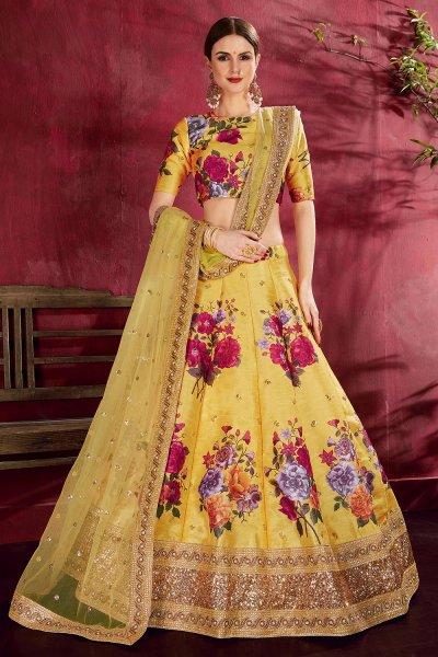 Yellow Floral Printed Silk Sequin And Zari Work Lehenga