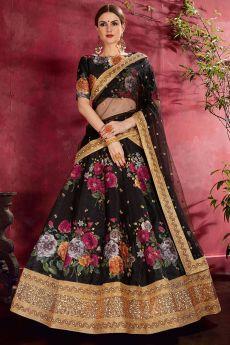 Black Floral Printed Silk Sequin And Zari Work Lehenga