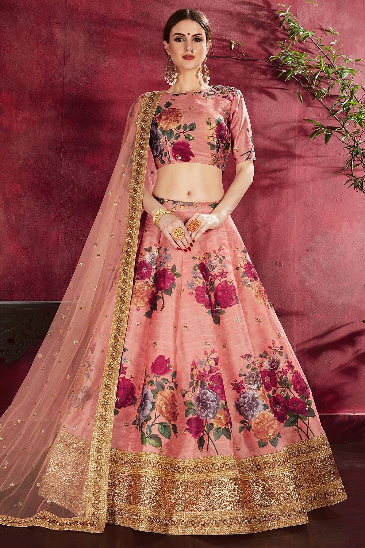 Blush Pink Floral Printed Silk Sequin And Zari Work Lehenga