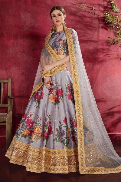 Lavender Floral Printed Silk Sequin And Zari Work Lehenga