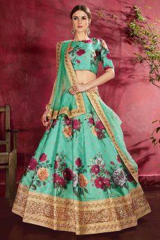 Turquoise Floral Printed Silk Sequin And Zari Work Lehenga