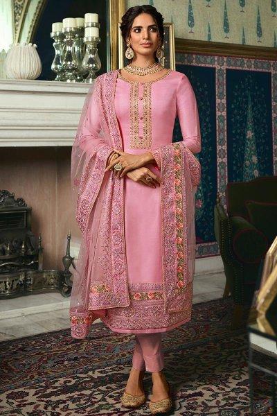 Light Pink Straight Silk Pant Suit