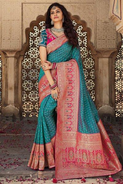 Blue And Pink Banarasi Silk Saree