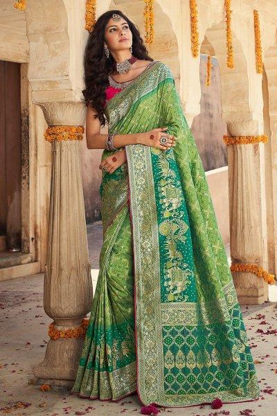 Light Green And Teal Green Banarasi Silk Saree