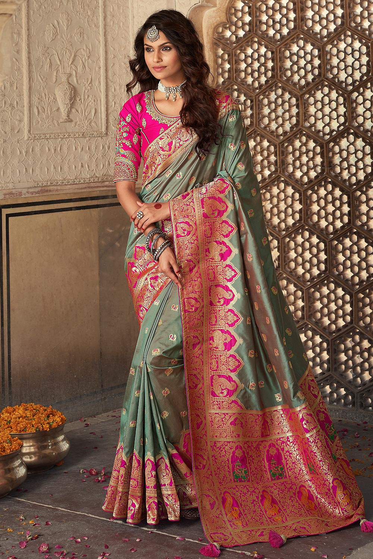 Dark Sage Green Banarasi Silk Saree