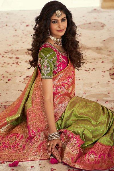 Mehendi Green Banarasi Silk Saree