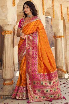 Orange And Pink Banarasi Silk Saree