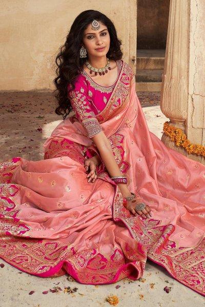 Light Pink Banarasi Silk Saree