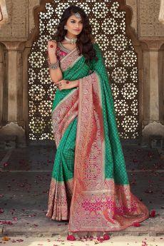 Teal Green And Pink Banarasi Silk Saree