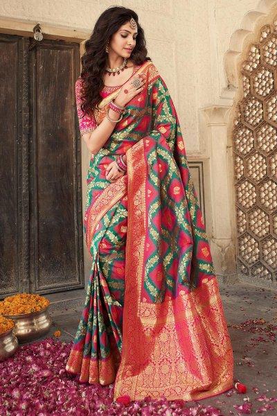 Dark Green And Pink Banarasi Silk Saree