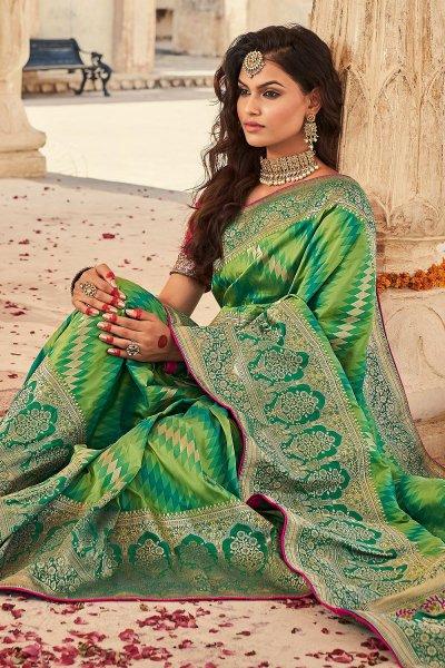 Light Green And Dark Green Banarasi Silk Saree