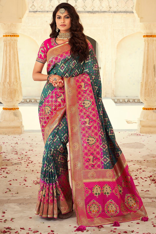 Dark Teal Green And Pink Banarasi Silk Saree