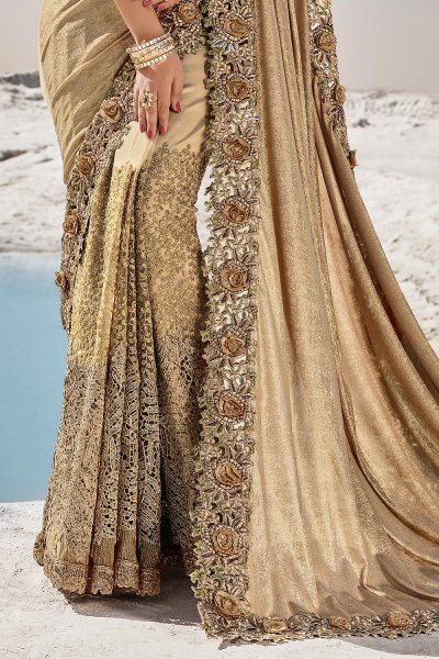 Golden Premium Luxe Fabric 3D Flowers Embellished Saree