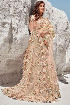 Light Peach Premium Net 3D Flowers Embellished Saree