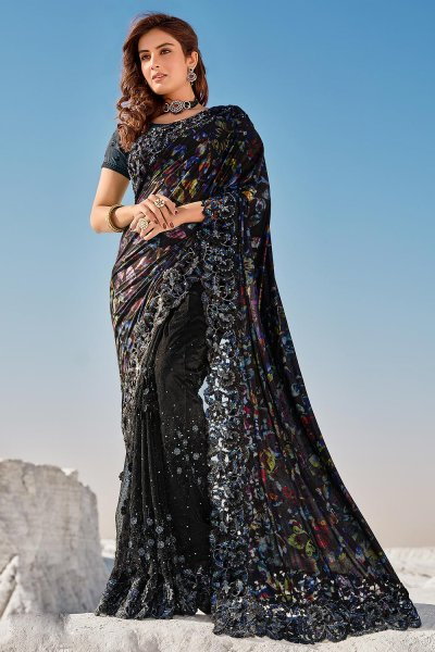 Black Fancy Luxe Fabric 3D Flowers Embellished Saree