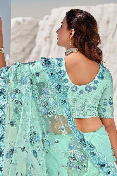 Sea Green Premium Net 3D Flowers Embellished Saree