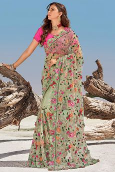 Pista Green Premium Net 3D Flowers Embellished Saree