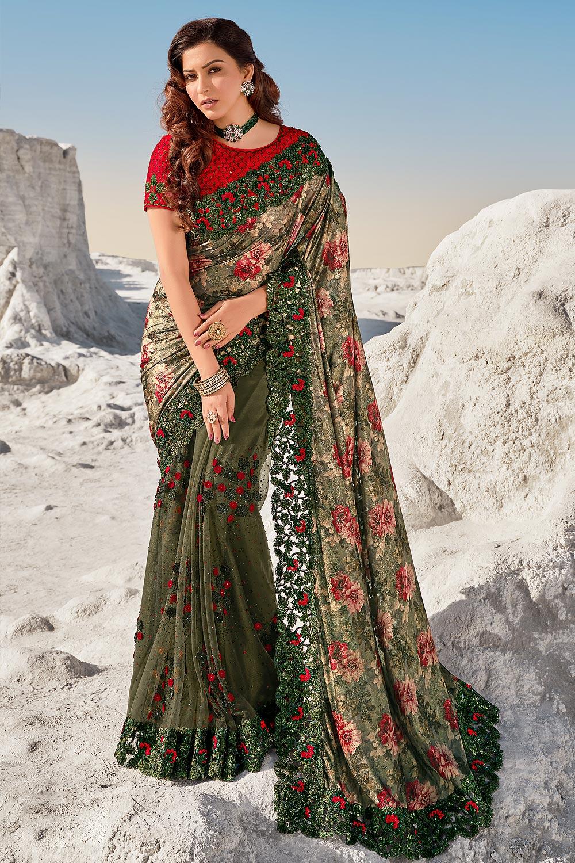 Mehendi Green  Premium Luxe Fabric 3D Flowers Embellished Saree