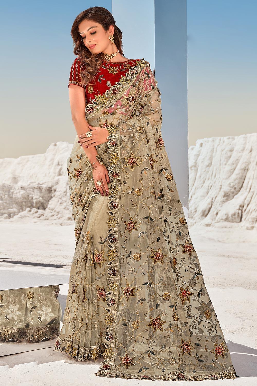 Beige Premium Net 3D Flowers Embellished Saree