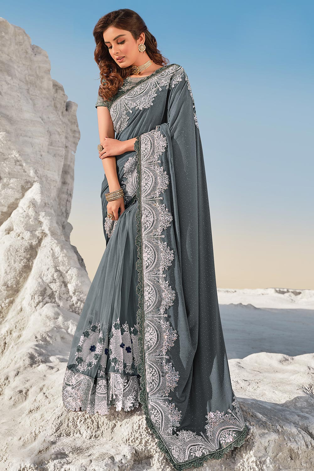 Grey Fancy Luxe Fabric 3D Flowers Embellished Saree