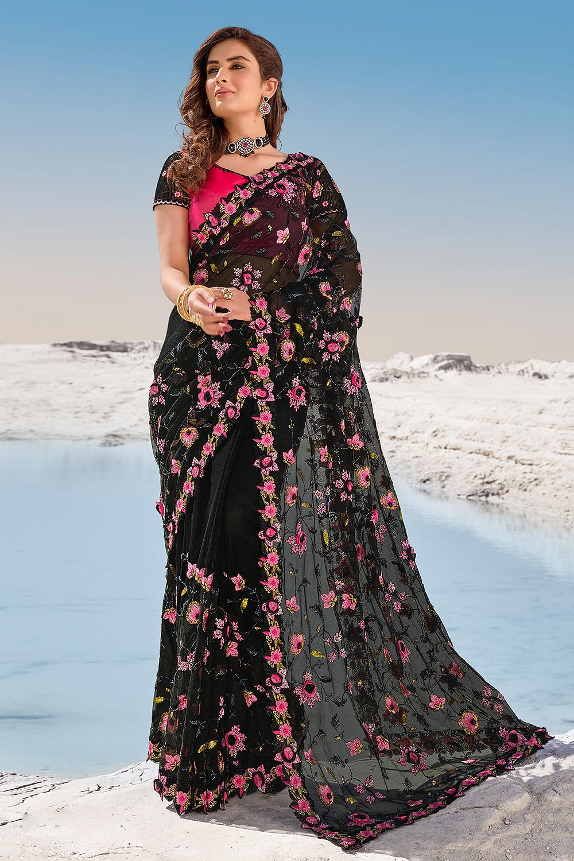 Black Premium Net 3D Flowers Embellished Saree