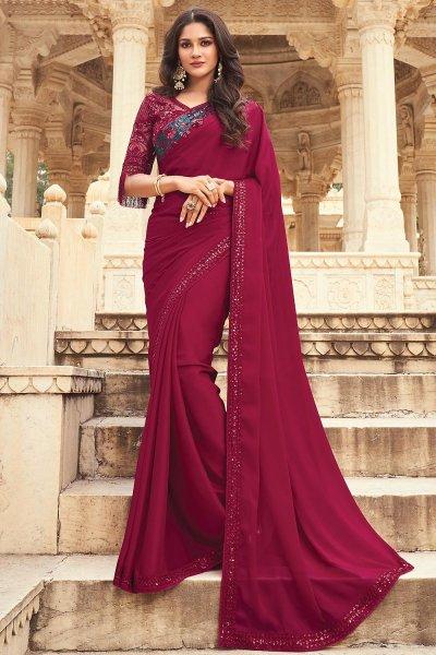 Wine Silk Embellished Designer Saree