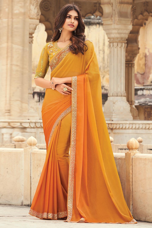 Yellow And Orange Silk Embellished Designer Saree