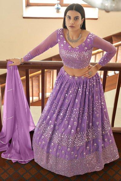 Lilac Designer Embellished Georgette Lehenga