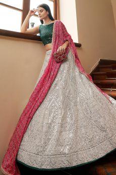 Light Grey Designer Embellished Organza Lehenga