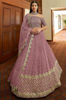 Mauve Designer Embellished Georgette Lehenga