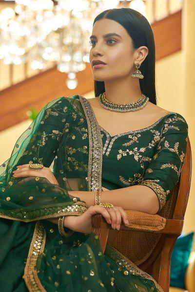 Dark Green Designer Embellished Silk Lehenga